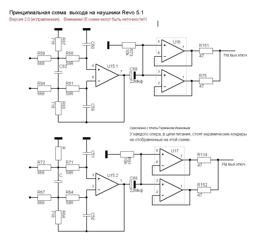 Принципиальная схема каналов наушников и линейного выхода.
